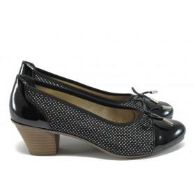 Дамски обувки на среден ток - естествена кожа в съчетание с текстил - черни - EO-8518