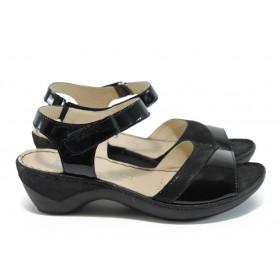 Дамски сандали - естествена кожа - черни - EO-8520