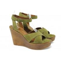 Дамски сандали - естествен велур - зелени - EO-8522