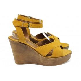 Дамски сандали - естествен велур - оранжеви - EO-8521