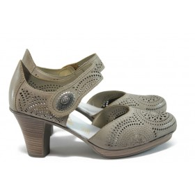 Дамски обувки на висок ток - естествена кожа - бежови - EO-8528