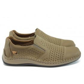Мъжки обувки - естествена кожа с перфорация - бежови - EO-8526