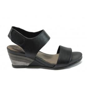 Дамски сандали - естествена кожа - черни - EO-8529