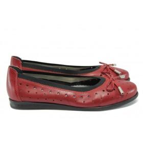 Равни дамски обувки - естествена кожа - червени - EO-8596
