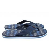 Мъжки чехли - текстилен материал - сини - EO-8700