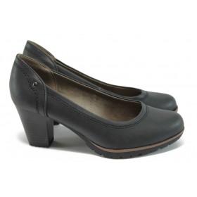 Дамски обувки на висок ток - висококачествена еко-кожа - черни - EO-8870