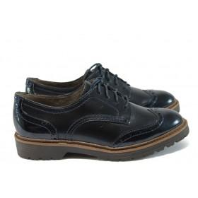 Равни дамски обувки - висококачествена еко-кожа в съчетание с еко кожа-лак - тъмносин - EO-8918