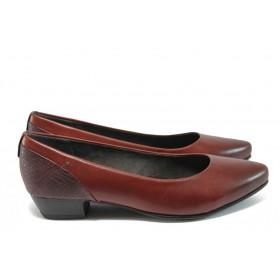 Дамски обувки на среден ток - естествена кожа - бордо - EO-8917