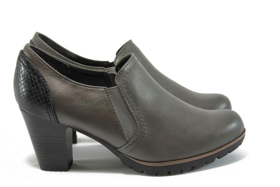 Дамски обувки на висок ток - висококачествена еко-кожа - сиви - EO-8964