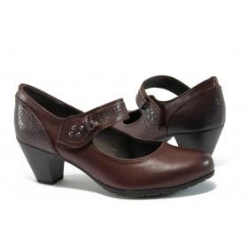 Дамски обувки на висок ток - висококачествена еко-кожа - бордо - EO-8965
