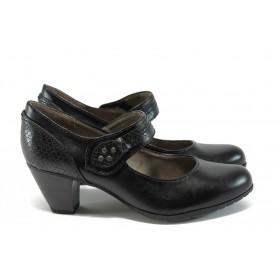 Дамски обувки на висок ток - висококачествена еко-кожа - черни - EO-8992