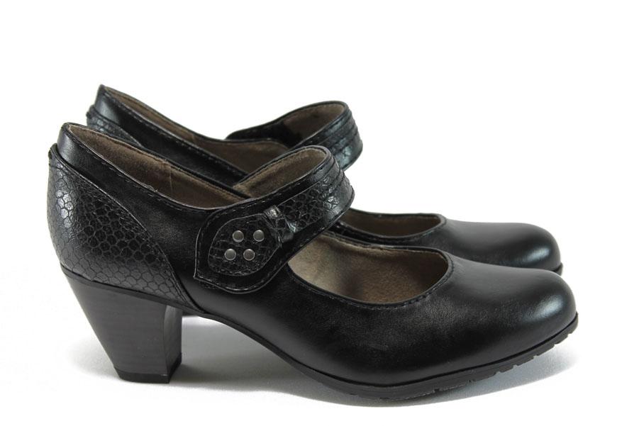 Дамски обувки на висок ток - висококачествена еко-кожа - черни - EO-8991