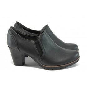 Дамски обувки на висок ток - висококачествена еко-кожа - черни - EO-8993