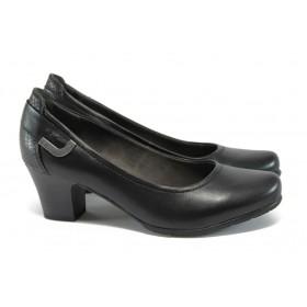Дамски обувки на среден ток - естествена кожа в съчетание с еко-кожа - черни - EO-8994