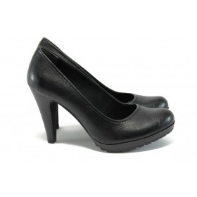 Дамски обувки на висок ток - висококачествена еко-кожа - черни - EO-8995