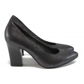Дамски обувки на висок ток - висококачествен еко-велур - кафяви - EO-8997