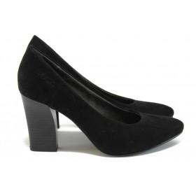 Дамски обувки на висок ток - висококачествен еко-велур - черни - EO-8998
