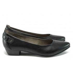 Дамски обувки на среден ток - висококачествена еко-кожа - черни - EO-9000
