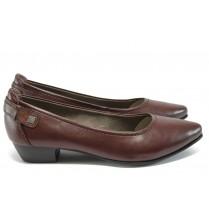 Дамски обувки на среден ток - висококачествена еко-кожа - бордо - EO-9001