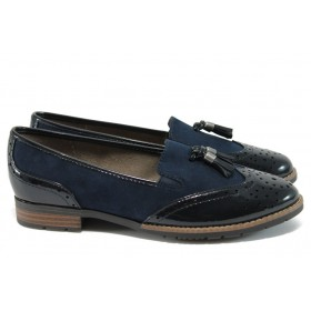 Равни дамски обувки - висококачествен еко-велур и еко кожа-лак - тъмносин - EO-9002