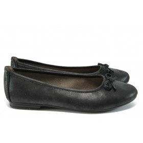 Равни дамски обувки - висококачествена еко-кожа - черни - EO-9003
