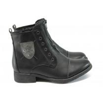 Дамски боти - висококачествена еко-кожа - черни - EO-9005