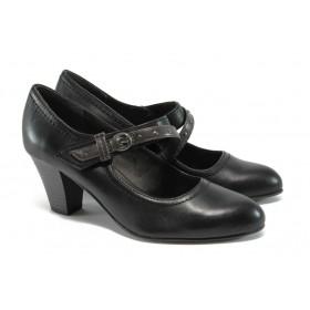 Дамски обувки на висок ток - естествена кожа - черни - EO-9007