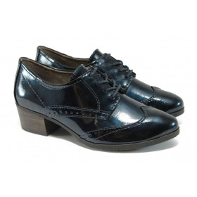 Дамски обувки на среден ток - еко кожа-лак - тъмносин - EO-9014