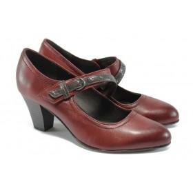 Дамски обувки на висок ток - естествена кожа - бордо - EO-9012