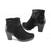 Дамски боти - висококачествена еко-кожа и велур - черни - EO-9015