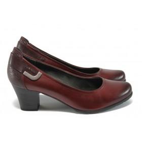 Дамски обувки на среден ток - естествена кожа в съчетание с еко-кожа - бордо - EO-9017