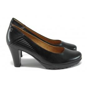 Дамски обувки на висок ток - естествена кожа в съчетание с еко-кожа - черни - EO-9018