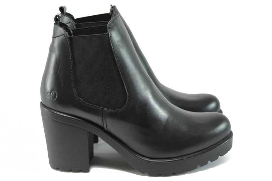 Дамски боти - естествена кожа - черни - EO-9020