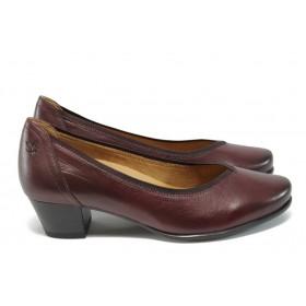 Дамски обувки на среден ток - естествена кожа - бордо - EO-9019