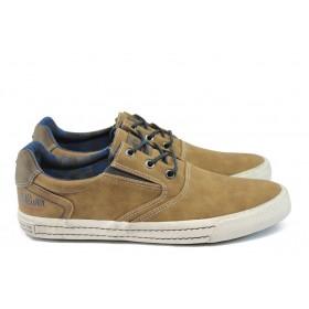 Спортни мъжки обувки - висококачествена еко-кожа - кафяви - EO-9021
