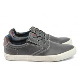 Спортни мъжки обувки - висококачествена еко-кожа - сиви - EO-9022