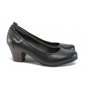 Дамски обувки на среден ток - естествена кожа в съчетание с еко-кожа - тъмносин - EO-9026