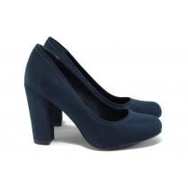 Дамски обувки на висок ток - висококачествен еко-велур - тъмносин - EO-9027