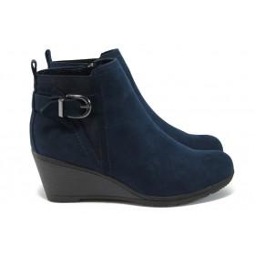 Дамски боти - висококачествен еко-велур - сини - EO-9031