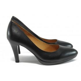 Дамски обувки на висок ток - естествена кожа - черни - EO-9035