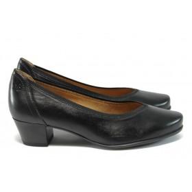 Дамски обувки на среден ток - естествена кожа - черни - EO-9036