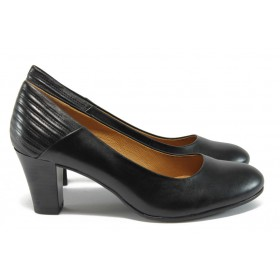 Дамски обувки на висок ток - естествена кожа - черни - EO-9041