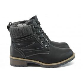 Юношески боти - висококачествена еко-кожа - черни - EO-9038