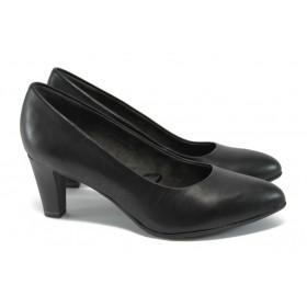 Дамски обувки на висок ток - естествена кожа - черни - EO-9045