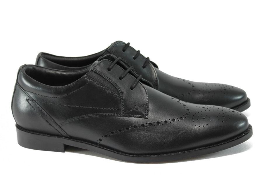 Елегантни мъжки обувки - естествена кожа - черни - EO-9047
