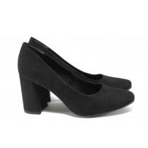 Дамски обувки на висок ток - висококачествен еко-велур - черни - EO-9060