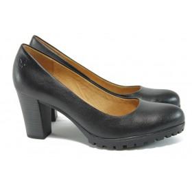 Дамски обувки на висок ток - естествена кожа - черни - EO-9087