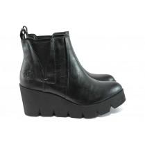 Дамски боти - висококачествена еко-кожа - черни - EO-9140