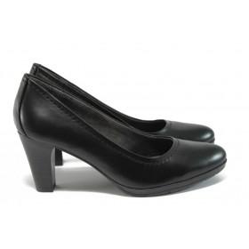 Дамски обувки на висок ток - естествена кожа - черни - EO-9147