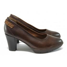 Дамски обувки на висок ток - естествена кожа - кафяви - EO-9146